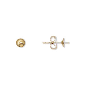 Earstud, 14Kt Gold-filled, 4mm Cup Peg, Fits 4-6mm Bead. Sold Per Pkg 5 Pairs