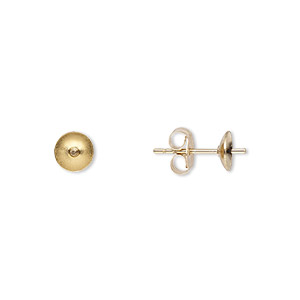 Earstud, 14Kt Gold-filled, 5mm Cup 3mm Peg, Fits 5-7mm Half-drilled Bead. Sold Per Pkg 5 Pairs