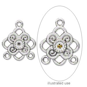 """Charm, Antique Silver-plated """"pewter"""" (zinc-based Alloy), 18x13mm Single-sided Crown Engraved """"Princess"""" (3) PP18 Chaton Settings. Sold Per Pkg 20"""
