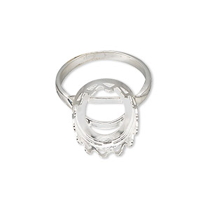 J9108SV Choose Your Finish 16x12mm Ring Bezel Cups Setting Adjustable Locking Shiny Sterling Silver 925 Fit Cabochon Gemstone