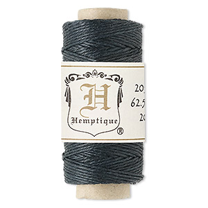 Cord, Hemptique®, natural hemp, black, 0.5mm diameter. Sold per 100-foot spool.