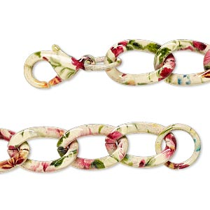 Chain, Painted Steel, Multicolored, 9.5mm Twisted Curb Flower Pattern, 7 Inches Lobster Claw Clasp. Sold Individually