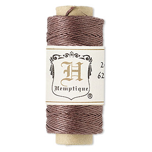 Cord, Hemptique®, natural hemp, dark brown, 0.5mm diameter. Sold per 100-foot spool.