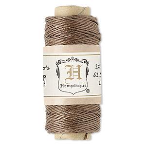 Cord, Hemptique®, natural hemp, light brown, 0.5mm diameter. Sold per 100-foot spool.