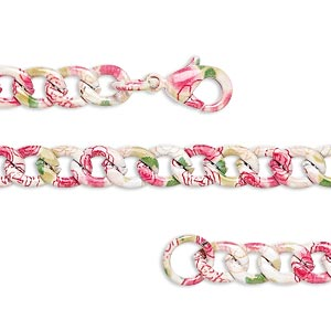 Chain, Painted Steel, Multicolored, 5.5mm Curb Flower Pattern, 7 Inches Lobster Claw Clasp. Sold Individually