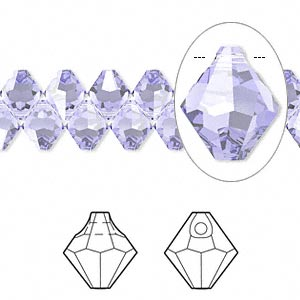 Drop, Swarovski® Crystals, Crystal Passions®, Provence Lavender, 6mm Faceted Bicone Pendant (6301). Sold Per Pkg 12 6301