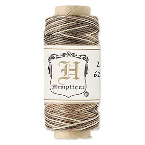 Cord, Hemptique®, natural hemp, brown and light brown, 0.5mm diameter. Sold per 100-foot spool.