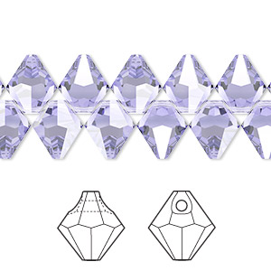 Drop, Swarovski® Crystals, Crystal Passions®, Provence Lavender, 8mm Faceted Bicone Pendant (6301). Sold Per Pkg 12 6301