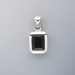 Pendant black onyx dyed and sterling silver 12x10mm rectangle pendants sterling silver silver colored aloadofball Images
