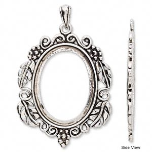 Pendant antique silver plated brass 72x47mm oval with flowers and pendant settings silver platedfinished silver colored aloadofball Images