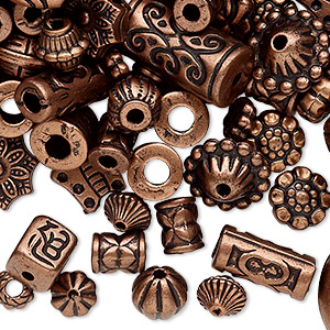 Bead Mix, Antiqued Copper-coated Plastic, 6.5x2mm-25x19.5mm Mixed Shape. Sold Per 250-gram Pkg, Approximately 1,300 Beads