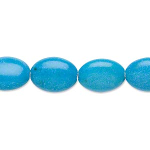 Bead, Magnesite (dyed / Stabilized), Dark Blue, 14x10mm-14x11mm Puffed Oval, B- Grade, Mohs Hardness 3-1/2 4. Sold Per 16-inch Strand