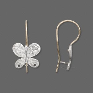 Earwire, JBB Findings, 12Kt Gold-filled Sterling Silver, 24mm French Style 13x12mm Hammered Butterfly 3 Holes. Sold Per Pair 6564-GF/SS EARWIRE