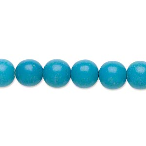 Bead, Magnesite (dyed / Stabilized), Blue, 8-9mm Round, B- Grade, Mohs Hardness 3-1/2 4. Sold Per 15-inch Strand
