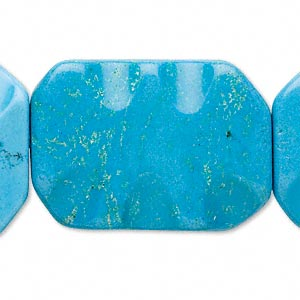 Bead, Magnesite (dyed / Stabilized), Blue, 35x25mm Wavy Rectangle, D Grade, Mohs Hardness 3-1/2 4. Sold Per 15-inch Strand