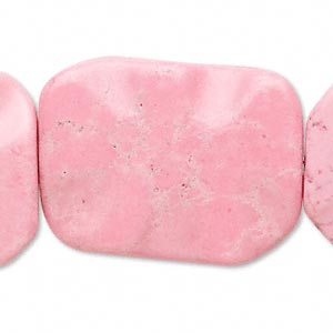 Bead, Magnesite (dyed / Stabilized), Pink, 35x25mm Wavy Flat Rectangle, C- Grade, Mohs Hardness 3-1/2 4. Sold Per 15-inch Strand