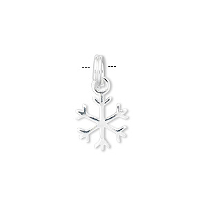 Charm, Sterling Silver, 12mm Snowflake. Sold Individually