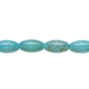 Bead, Magnesite (dyed / Stabilized), Teal, 12x7mm Oval, C Grade, Mohs Hardness 3-1/2 4. Sold Per 15-inch Strand
