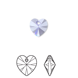 Drop, Swarovski® Crystals, Crystal Passions®, Provence Lavender, 10x10mm Xilion Heart Pendant (6228). Sold Per Pkg 2 6228