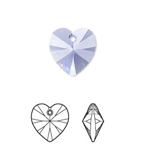 Drop, Swarovski® Crystals, Crystal Passions®, Provence Lavender, 14x14mm Xilion Heart Pendant (6228). Sold Individually 6228