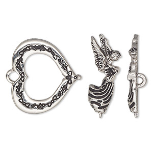 "Clasp, Toggle, Antique Silver-plated ""pewter"" (zinc-based Alloy), 23x21mm Heart Angel Bar. Sold Individually"