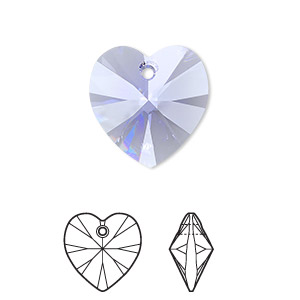 Drop, Swarovski® Crystals, Crystal Passions®, Provence Lavender, 18x18mm Xilion Heart Pendant (6228). Sold Individually 6228