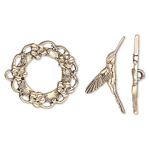 "Clasp, Toggle, Antique Gold-finished ""pewter"" (zinc-based Alloy), 25mm Wreath Flowers Hummingbird Bar. Sold Individually"