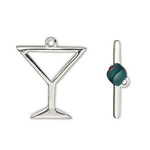 "Clasp, Toggle, Enamel / Glass Rhinestone / Silver-plated ""pewter"" (zinc-based Alloy), Red Green, 23x21mm Martini Glass Olive. Sold Individually"