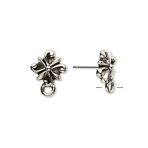 Earstud, Stainless Steel Antique Silver-plated Pewter (tin-based Alloy), 11x11mm Radiating Swirl Closed Loop. Sold Per Pkg 2 Pairs
