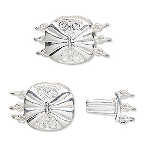 Clasp, 3-strand Tab, Silver-plated Brass, 15x14.5mm Filigree Round Butterfly Design. Sold Per Pkg 4