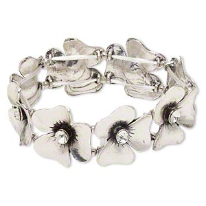 "Bracelet, Stretch, Glass Rhinestone Antique Silver-finished ""pewter"" (zinc-based Alloy), Clear, 25x24mm Flower, 6-1/2 Inches. Sold Individually 4289JD"
