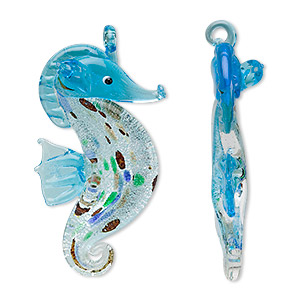 Focal, Glass, Sea Blue Foil, 58x30mm Seahorse. Sold Individually