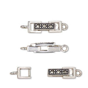 Clasp, Fold-over, Marcasite (natural) Antiqued Sterling Silver, 17x6mm Rectangle. Sold Individually