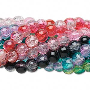 Beads Crackle Glass Mixed Colors