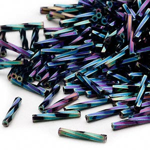 Bugle Beads Glass Purples / Lavenders