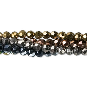 Bead, Glass, Assorted Metallic Colors, 4mm Faceted Round. Sold Per Pkg Five 13-inch Strands