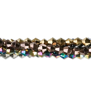 Bead, Glass, Assorted Metallic Colors, 4mm Faceted Bicone. Sold Per Pkg Five 13-inch Strands