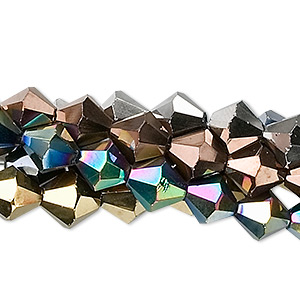 Bead, Glass, Assorted Metallic Colors, 8mm Faceted Bicone. Sold Per Pkg Five 13-inch Strands