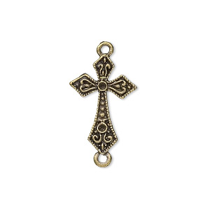 "Link, Antique Brass-plated ""pewter"" (zinc-based Alloy), 21x14mm Fancy Cross, Fits (2) PP6. Sold Per Pkg 10"