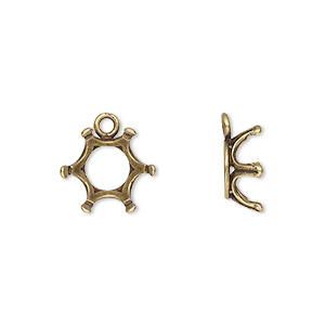 Drop, JBB Findings, antique brass-plated brass, 13mm round