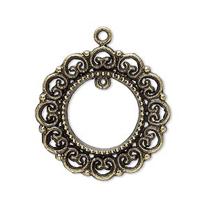 "Drop, Antique Brass-plated ""pewter"" (zinc-based Alloy), 28mm Wreath Loop. Sold Per Pkg 10"