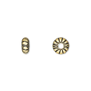 Bead, Antiqued Gold-finished Copper-coated Plastic, 8x4mm Rondelle 2.5mm Hole. Sold Per 50-gram Pkg, Approximately 280 Beads
