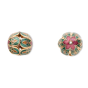 Bead, Cloisonné, Enamel Gold-finished Copper, Green / Tan / Red, 16mm Round Cutouts Fancy Flower Design. Sold Per Pkg 4