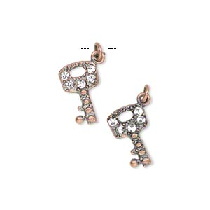 """Charm, Antiqued Copper-finished """"pewter"""" (zinc-based Alloy) Czech Glass Rhinestone, Clear, 14x8mm Single-sided Key. Sold Per Pkg 2"""