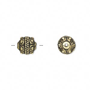 Bead, Antiqued Gold-finished Copper-coated Plastic, 9mm Fancy Round. Sold Per 50-gram Pkg, Approximately 130 Beads