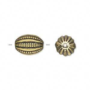 Bead, Antiqued Gold-finished Copper-coated Plastic, 14x10mm Fancy Oval. Sold Per 50-gram Pkg, Approximately 60 Beads
