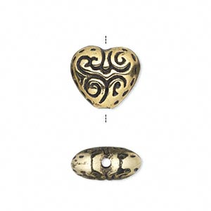 Bead, Antiqued Gold-finished Copper-coated Plastic, 15x13mm Double-sided Heart. Sold Per 50-gram Pkg, Approximately 60 Beads