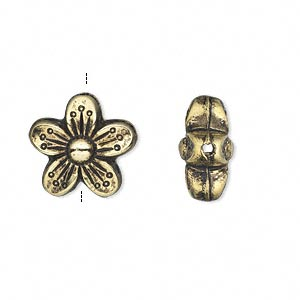 Bead, Antiqued Gold-finished Copper-coated Plastic, 15x15mm Double-sided Flower. Sold Per 50-gram Pkg, Approximately 50 Beads