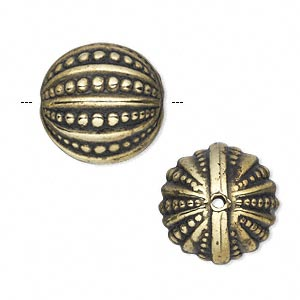 Bead, Antiqued Gold-finished Copper-coated Plastic, 18mm Dotted Round. Sold Per 50-gram Pkg, Approximately 15 Beads