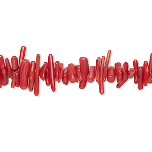 Bead, Coral (dyed), Red, 6x1mm-14x3mm Hand-cut Cupolini, Mohs Hardness 3-1/2 4. Sold Per 16-inch Strand